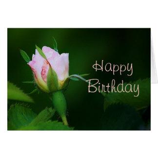 Capullo de rosa del feliz cumpleaños tarjeta de felicitación