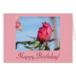 Capullo de rosa del rosa del feliz cumpleaños tarjeta de felicitación