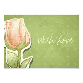 Capullo de rosa del vintage en el verde, invitación 12,7 x 17,8 cm