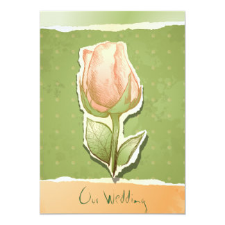 Capullo de rosa del vintage en el verde, invitaciones personalizada