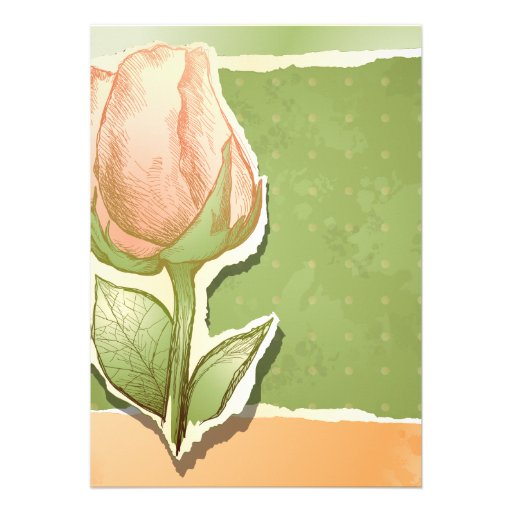 Capullo de rosa del vintage en el verde, invitació comunicados