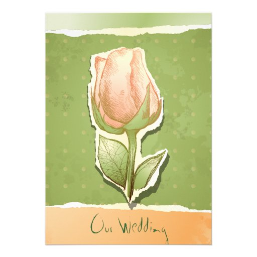 Capullo de rosa del vintage en el verde, invitació invitaciones personalizada
