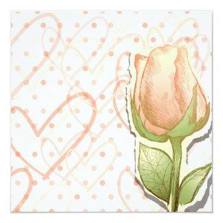 Capullo de rosa del vintage, invitación invitación 13,3 cm x 13,3cm