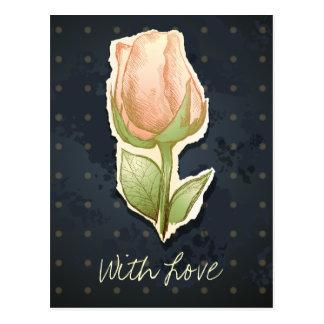 Capullo de rosa en negro, postal del vintage