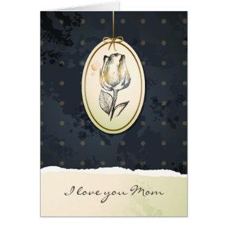 Capullo de rosa en negro, tarjeta del vintage