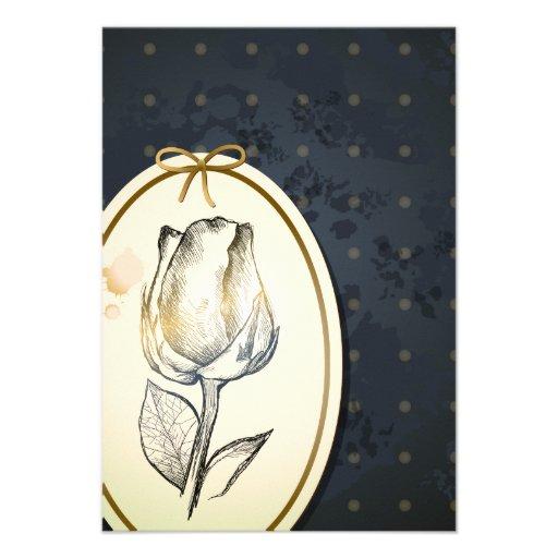 Capullo de rosa en negro, tarjeta del vintage invitacion personalizada