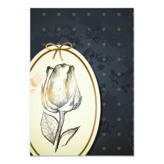 Capullo de rosa en negro, tarjeta del vintage invitación 8,9 x 12,7 cm