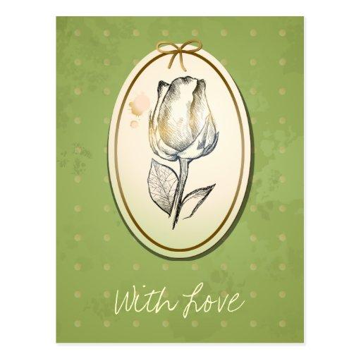 Capullo de rosa en verde, postal del vintage