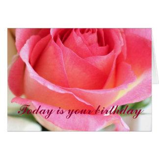 Capullo de rosa rosado 2 - feliz cumpleaños tarjetón