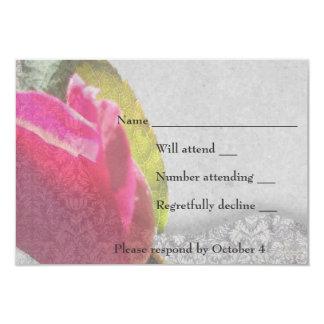 Capullo de rosa RSVP elegante del damasco Invitación 8,9 X 12,7 Cm