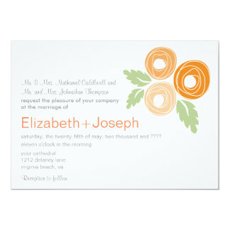 Capullos de rosa anaranjados que casan la invitación 12,7 x 17,8 cm