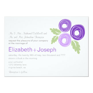 Capullos de rosa púrpuras que casan la invitación
