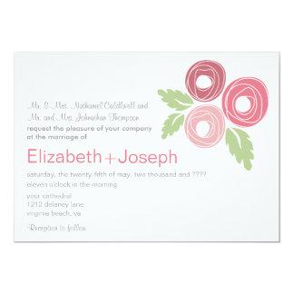 Capullos de rosa rosados que casan la invitación