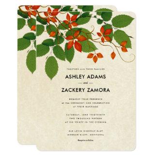 Caqui y invitación floral del boda de la vid del