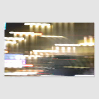 Car in street in urban city lights with distortion pegatina rectangular