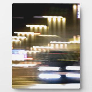 Car in street in urban city lights with distortion placas con fotos