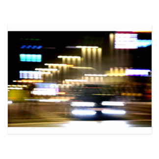 Car in street in urban city lights with distortion postal