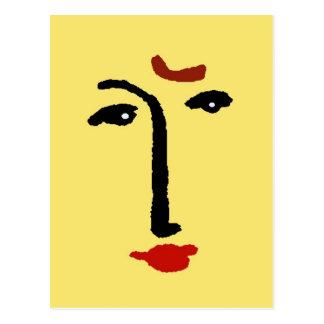 Cara abstracta en amarillo postal