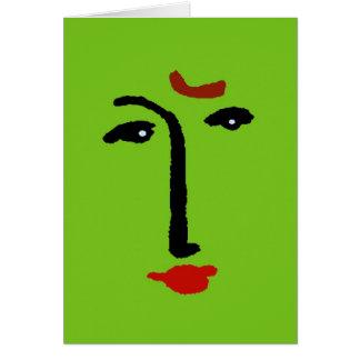 Cara abstracta en verde tarjeta de felicitación