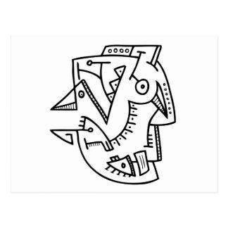 Cara abstracta - líneas y puntos postal