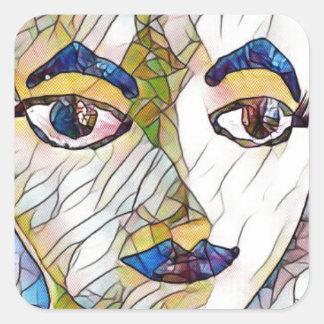 Cara artística infrecuente del maniquí pegatina cuadrada