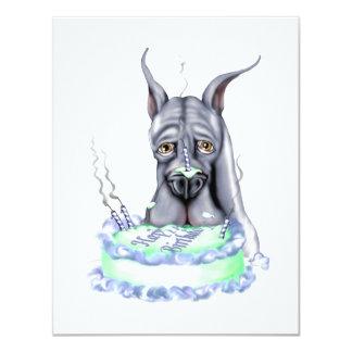 Cara azul de la torta de cumpleaños de great dane invitación 10,8 x 13,9 cm