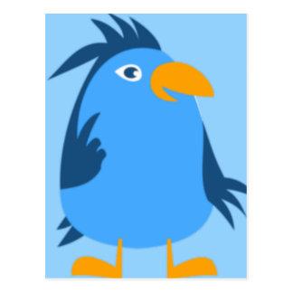 Cara azul del pájaro postal