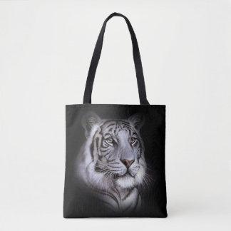 Cara blanca del tigre bolsa de tela
