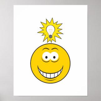 Cara brillante del smiley de la idea póster