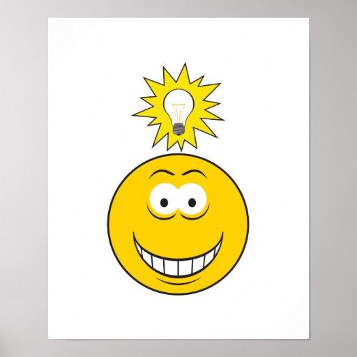 Cara brillante del smiley de la idea poster
