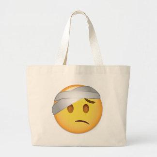 Cara con el Cabeza-Vendaje Emoji Bolso De Tela Grande