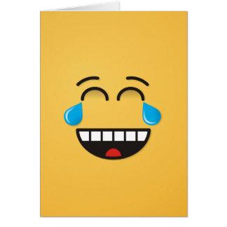 Cara con los rasgones de la alegría tarjeta de felicitación