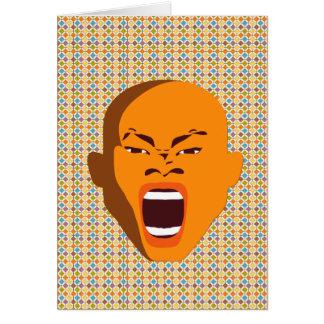 Cara de griterío anaranjada de la tinta grosera de tarjeta
