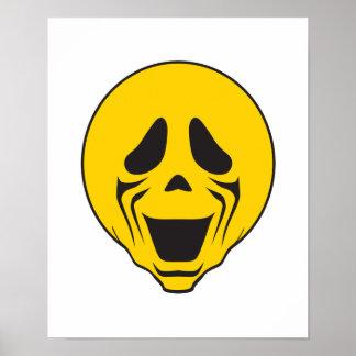 Cara de griterío del smiley del grito póster