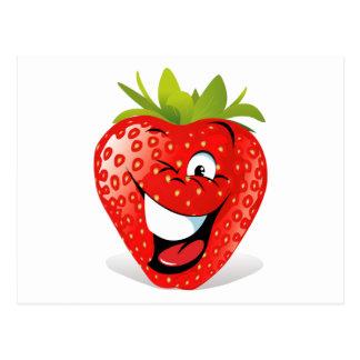 Cara de guiño feliz de la fresa postales
