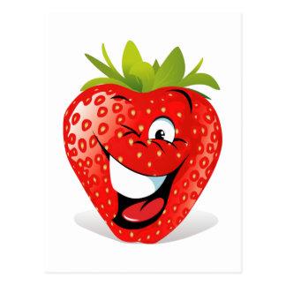 Cara de guiño feliz de la fresa tarjeta postal