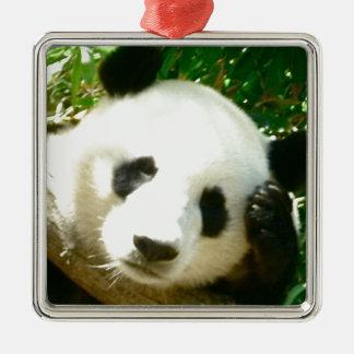 Cara de la panda adorno navideño cuadrado de metal