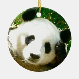 Cara de la panda adorno navideño redondo de cerámica