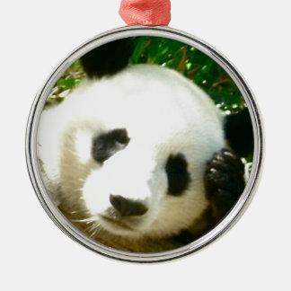 Cara de la panda adorno navideño redondo de metal