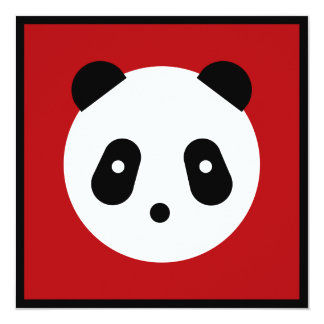 Cara de la panda invitación 13,3 cm x 13,3cm