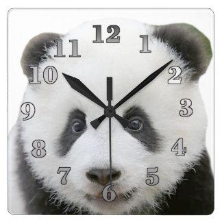 Cara de la panda reloj cuadrado