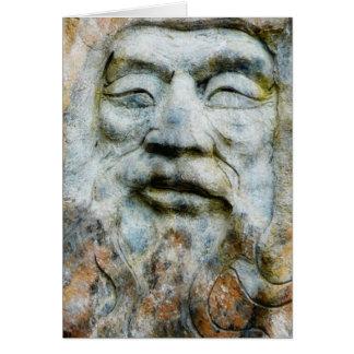 Cara de la roca - hombre tallado en piedra tarjeta de felicitación