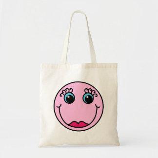 Cara de la señora rosada smiley bolso de tela