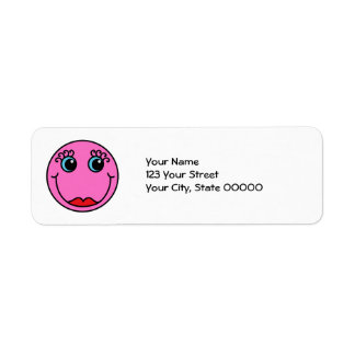 Cara de la señora rosada smiley etiquetas de remite