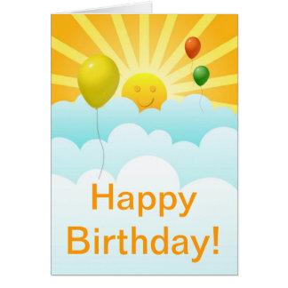 Cara de la sol y tarjeta de cumpleaños felices de