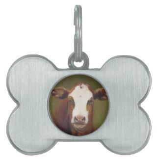 Cara de la vaca placa de nombre de mascota