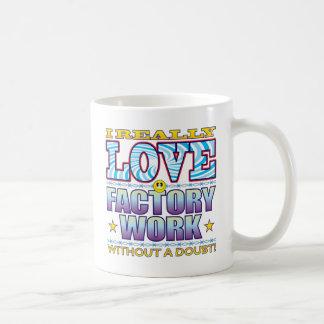Cara del amor del trabajo de la fábrica taza básica blanca
