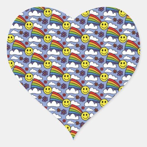 Cara del arco iris y modelo sonrientes del Hippie Calcomanía De Corazón Personalizadas