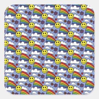 Cara del arco iris y modelo sonrientes del Hippie Pegatina Cuadrada