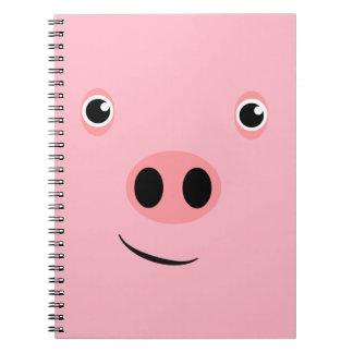 Cara del cerdo libro de apuntes con espiral
